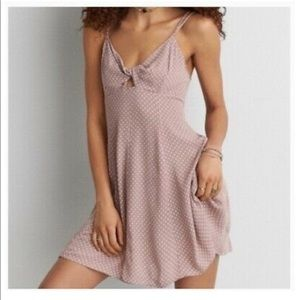 American Eagle Pink Twist Front Sundress